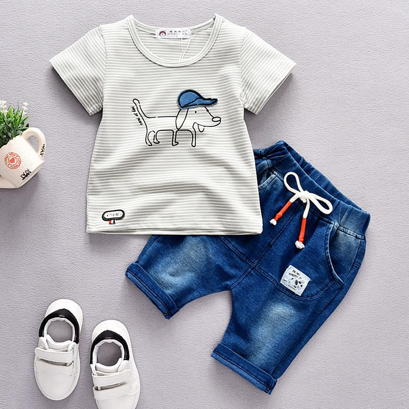 776b372c1692 2019 MochenchengBoys Clothing Set Summer Fashion Cotton Clothes Cartoon T  Shirts + Denim Shorts Suit For Kids Casual Sport Clothes From Ycqz3