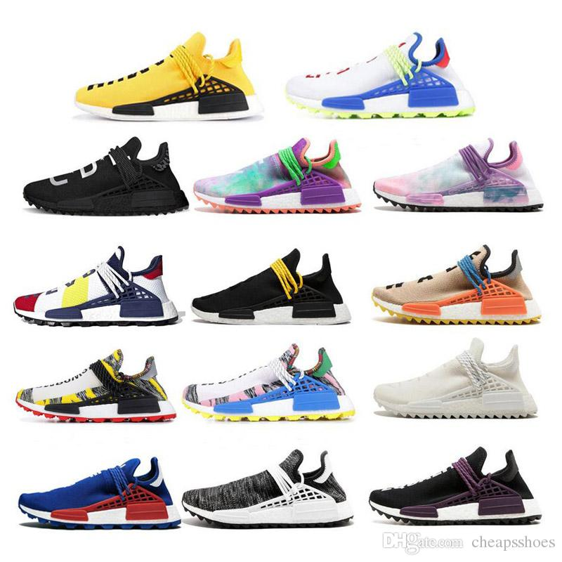 f07114ac75f61 2019 NMD Human Race Running Shoes For Mans Pharrell Williams Sample Yellow  Core Black Sport Designer Shoes Men Women Sneakers 36 45 With Box From ...