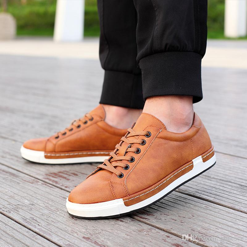 b2f2921ed7d9 New Casual Shoes Mens Leather Flats Lace Up Shoes Simple Stylish Male Shoes  Large Sizes Oxford Shoe For Men