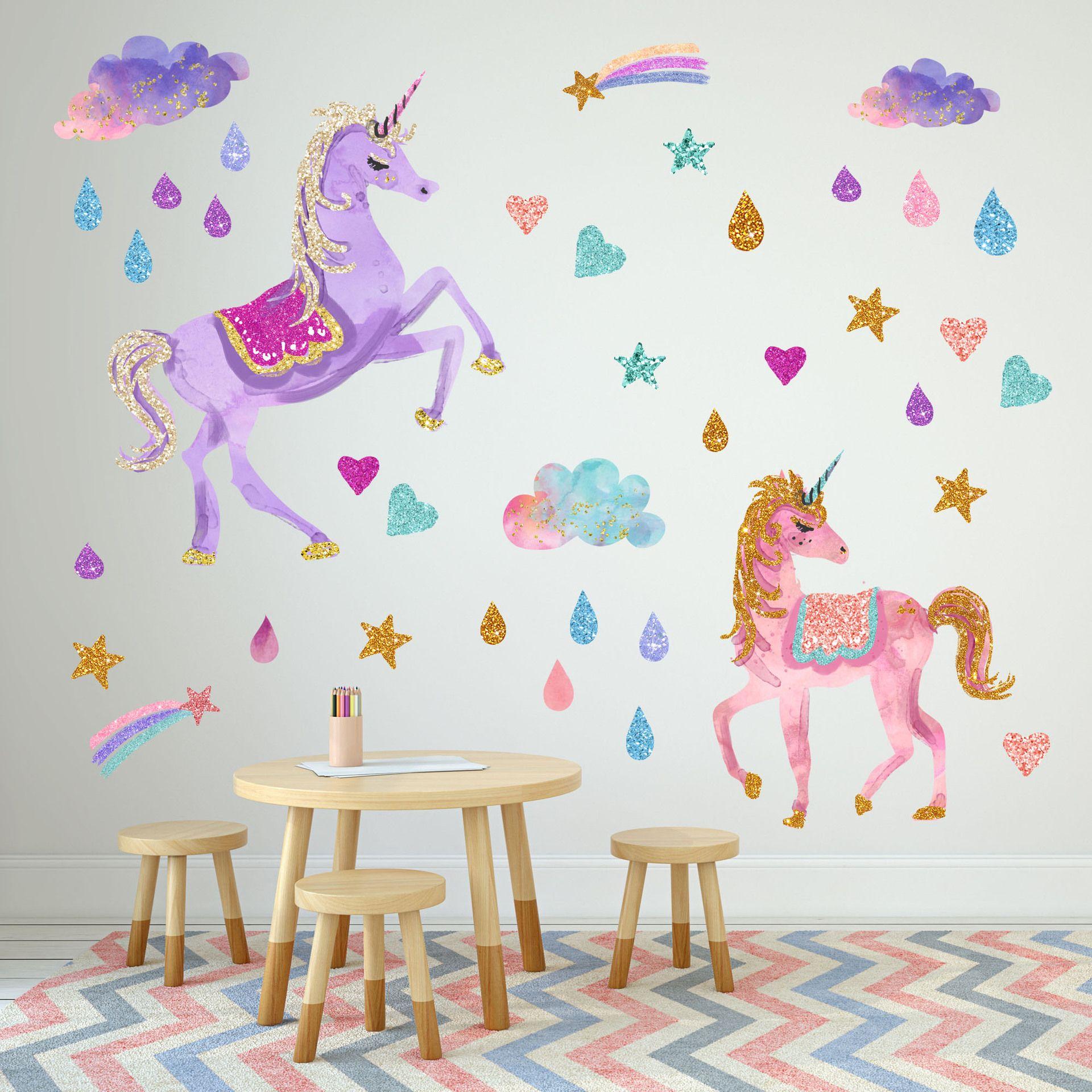 3660cm children unicorn wall sticker design kids cartoon pvc rainbow raindrop art wall stickers reflective wallpaper pictures home decor sports wall decals