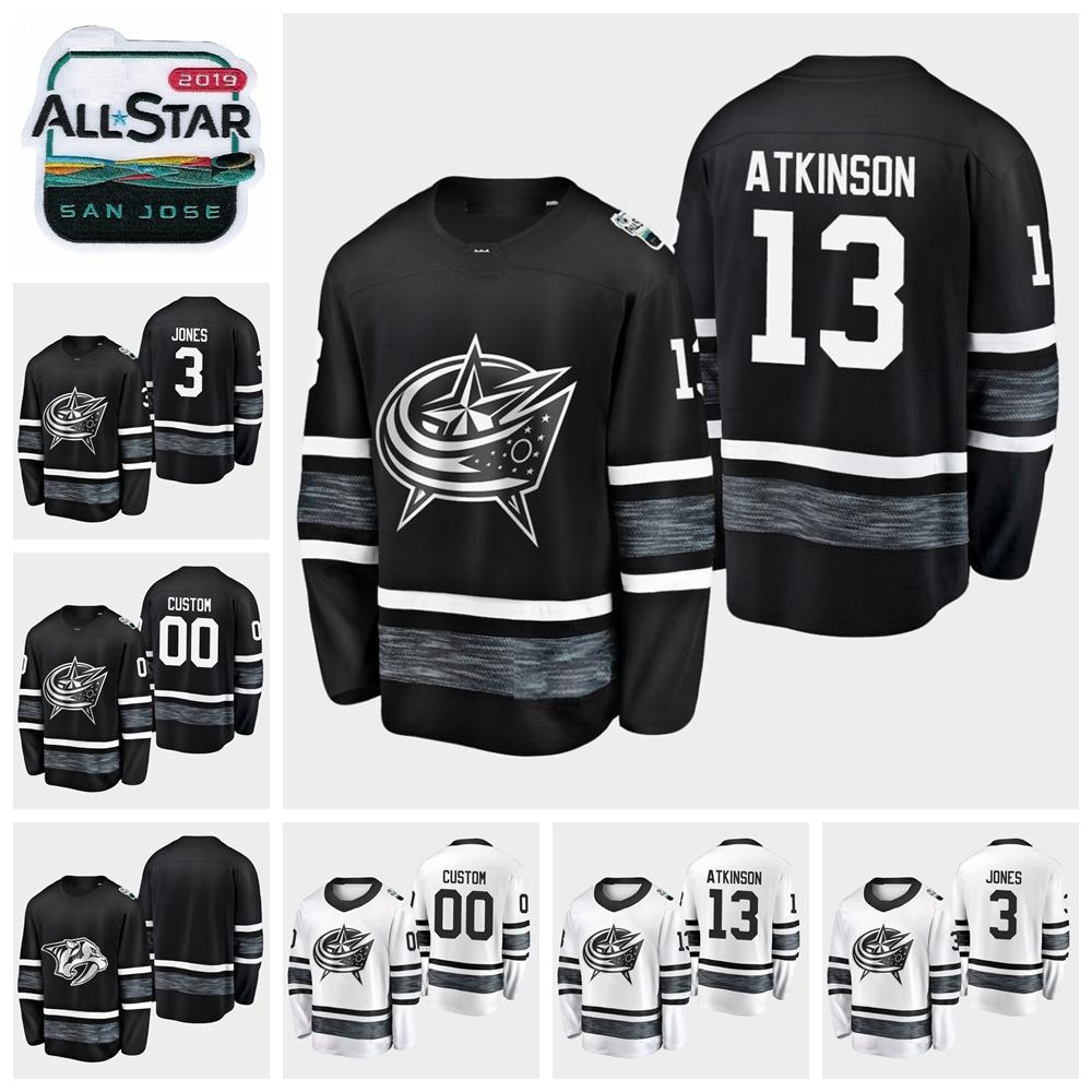 8b25fd483 2019 All Star Game 13 Cam Atkinson H Jones Customize Men Women Youth Columbus  Blue Jackets Hockey Jerseys Black White Jersey Hockey Jerseys Online Hockey  ...