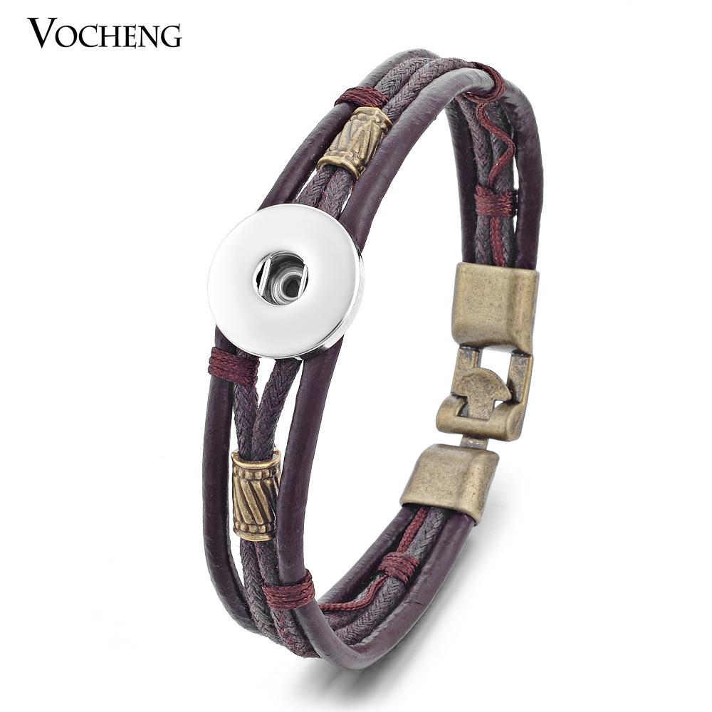 Wholesale-10pcs/lot Wholesale Vocheng Ginger Snap 18mm Bracelet Cow Leather Jewelry NN-365*10 Free Shipping