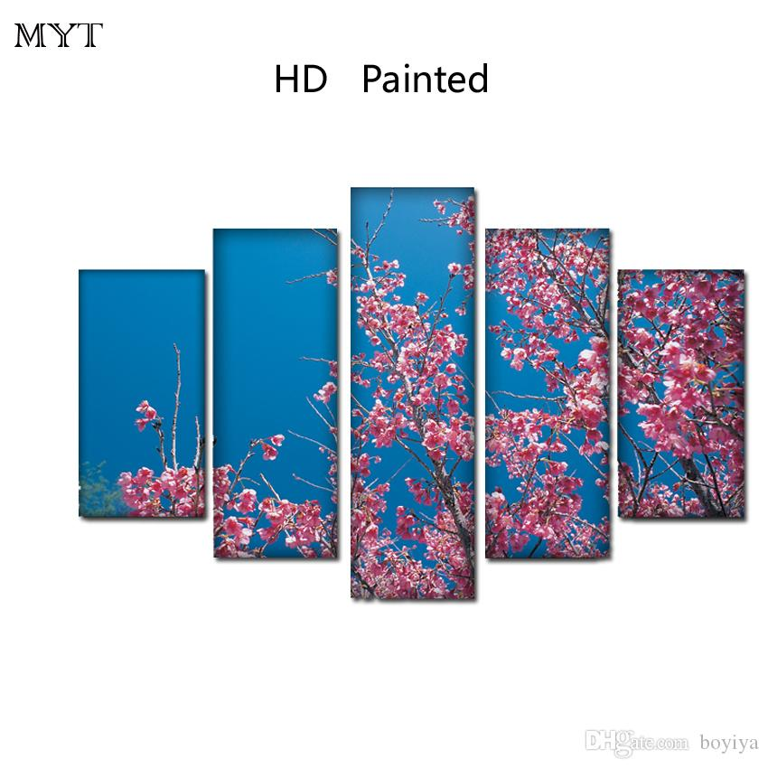 No framed HD Printed Paintings Spray prints image Canvas Wall Art pictures 5 pieces Plum blossom flowers scenery For living room Home Decor