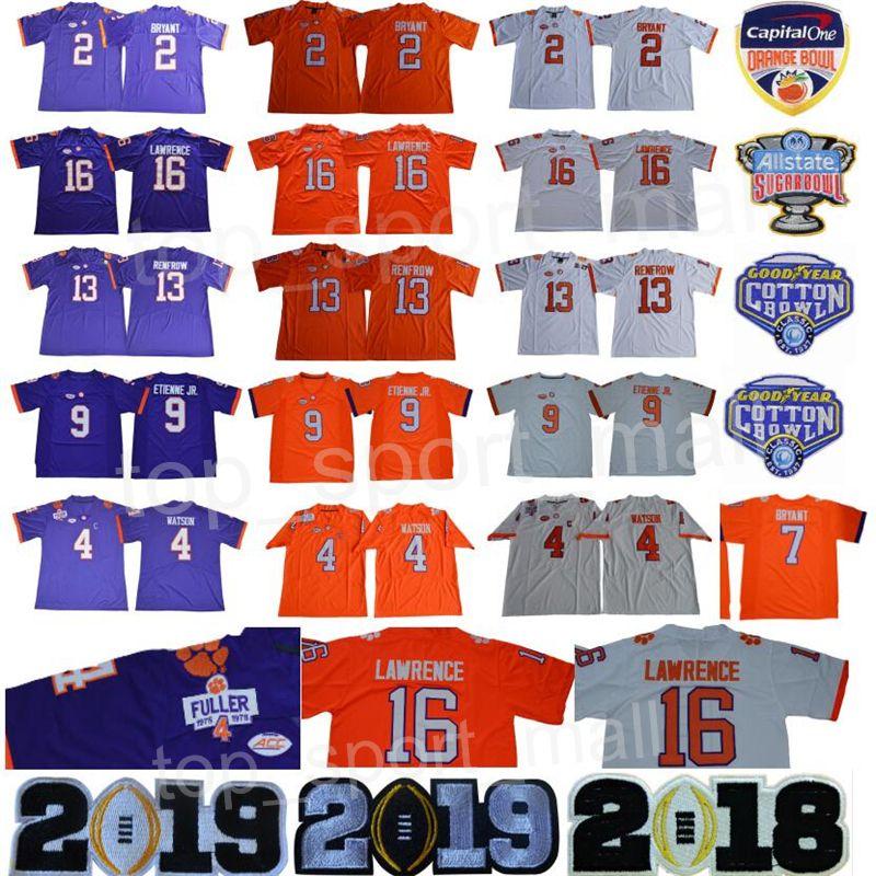 60a538aa3bb 2019 College Football Clemson Tigers Jersey Trevor Lawrence Kelly Bryant  Austin Deshaun Watson Travis Etienne Jr Renfrow Sugar Cotton Bowl Orange  From ...