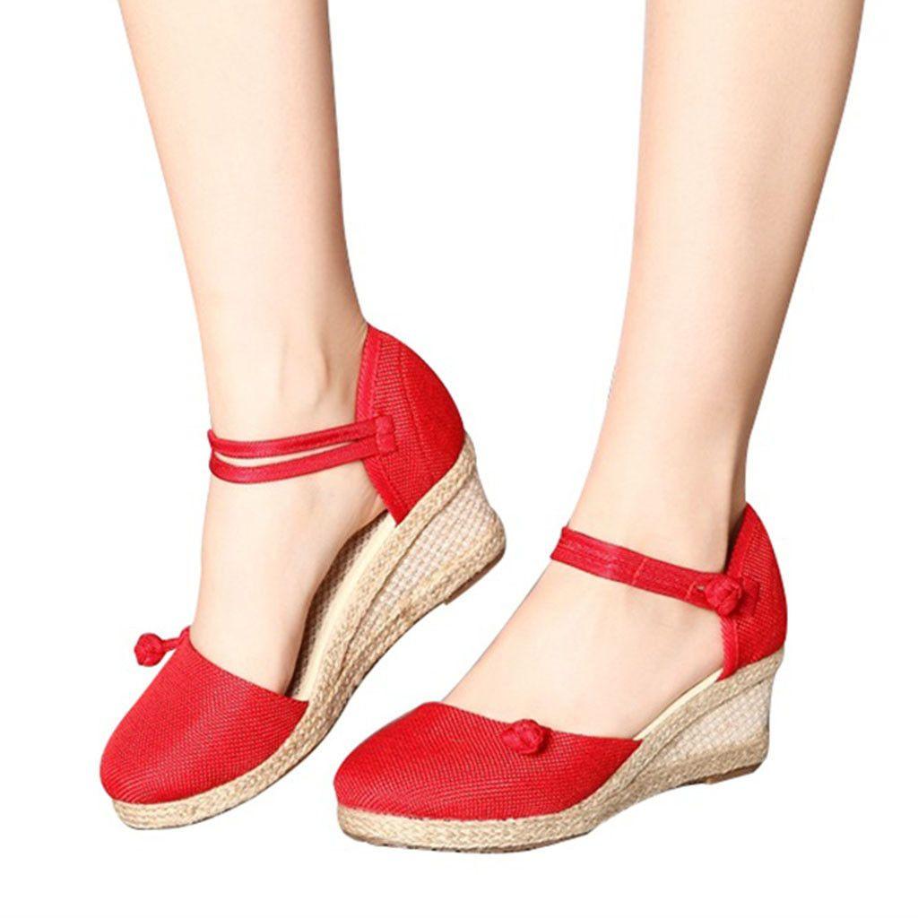 909b2cdff4d54 2019 Handmade Summer Women Hemp Linen Close Toe Wedge Sandals Minimalist Mid  Heel Ladies Casual Hemp Shoes Sandials Mujer Jan23 Strappy Heels Geox Shoes  ...