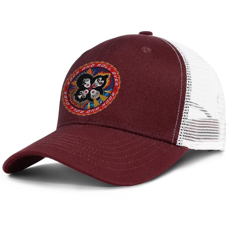 Kiss band upcoming events tongue burgundy mens and womens trucker cap ball cool custom design your own hats