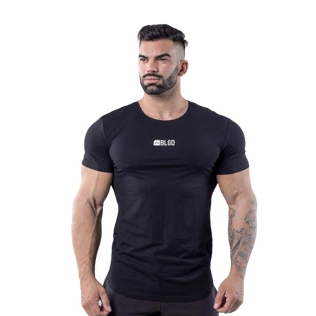 T-shirt Male Black Sports Fitness Running Climbing Basketball Outdoor Training Gym Workout New Muscle Brother Slim Short Sleeve Tee Shirt