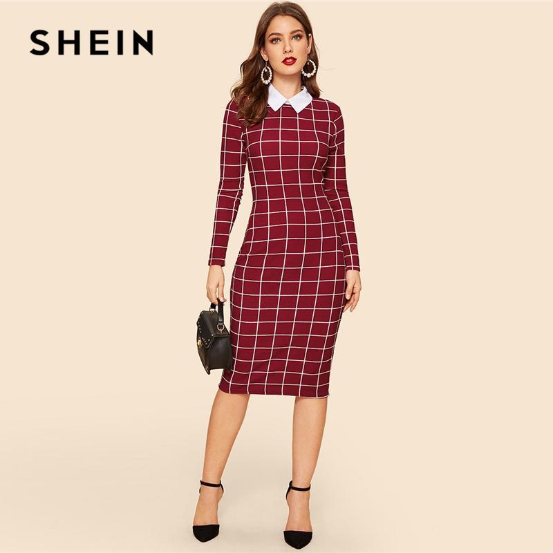 Borgoña Estampado De Shein Cuello Rejilla Vestido Vintage Compre 5A4RLq3j