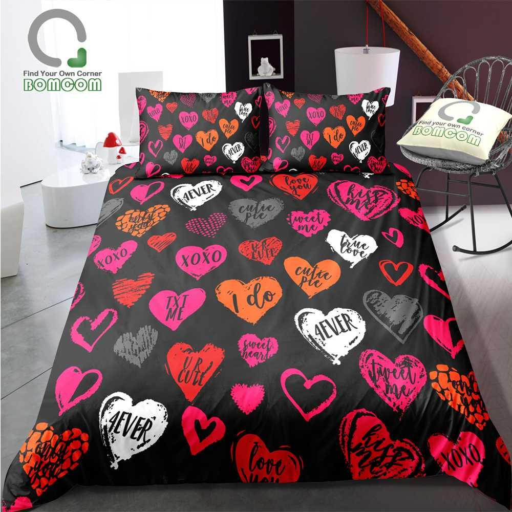 BOMCOM 3D Digital Printing Bedding Set Red Pink Loving Sweat Heart with Text on Black 3-Piece Duvet Cover Sets 100% Microfiber