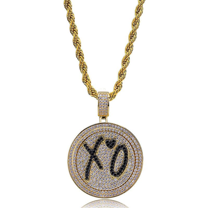 Men Hip Hop Jewlry Ice Out 18K Gold Plated Necklace Pave Micro CZ Hiphop Round Pendant Necklaces
