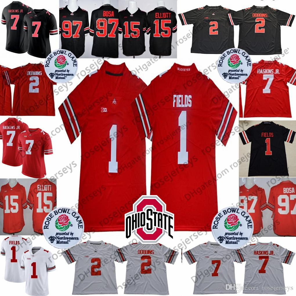 4e3b8a1e4acdc 2019 2019 Ohio State Buckeyes #1 Justin Fields #2 JK Dobbins #7 Dwayne  Haskins Jr. #97 Nick Bosa #15 Elliott OSU Rose Bowl Jerseys From  Rosejerseys, ...