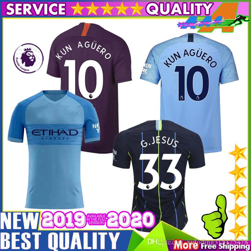 15a6bd6ed 2019 Quality Thai Man City 2019 2020 G. JESUS Home Away Soccer Jersey 18 19 DZEKO  KUN AGUERO KOMPANY De BRUYNE Men Shirt From Xufoding315125478, ...