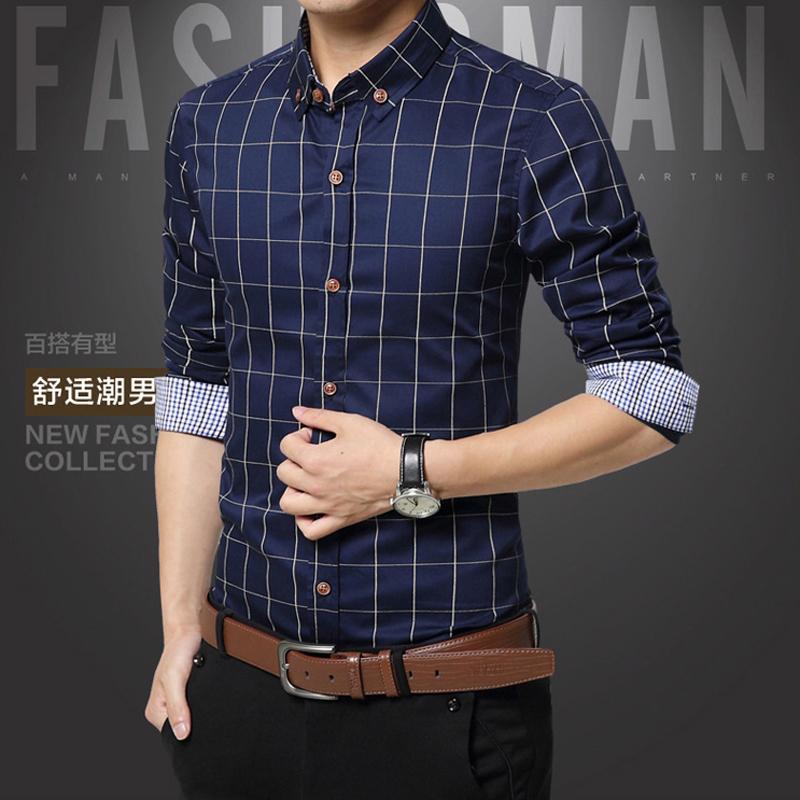 ec2990079d Compre Camisas Dos Homens Xadrez 2019 Moda Estilo De Qualidade Mens Camisas  De Vestido Masculino Marca De Roupas Social Camisa Ocasional Chemise Homme  Plus ...