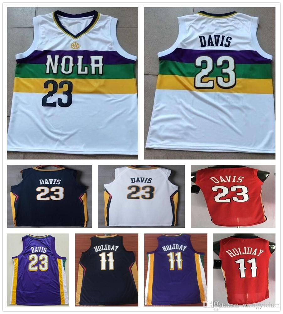 innovative design 9f663 0593d New City Edition White 23 Anthony Davis Jerseys Shirts Purple Blue 11 Jrue  Holiday Jersey Stitched Sportswear Embroidery Fast Shipping