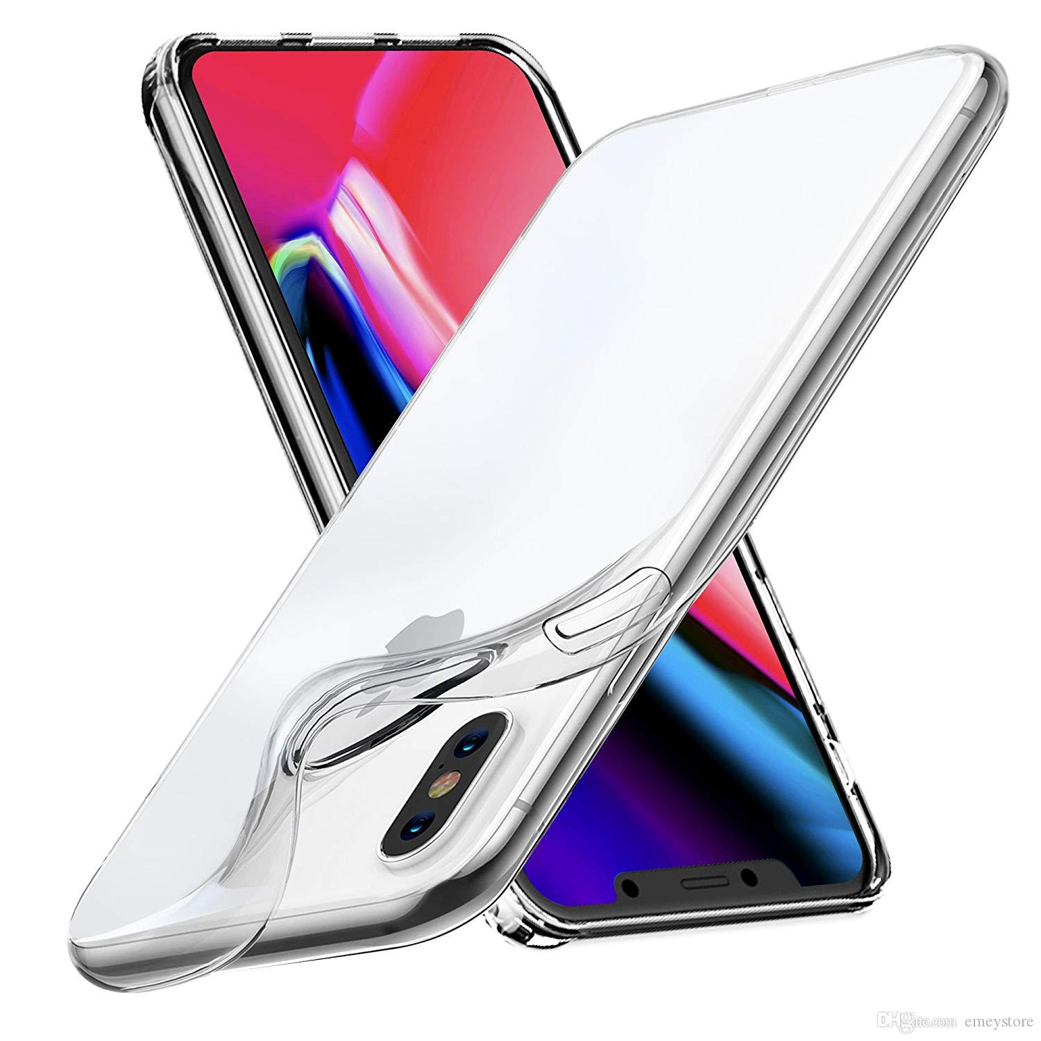 for iPhone xs max xr X 7 8 6 6s Clear Case Soft TPU samsung s6 s7 s10 s10e s8 s9 plus note 8 9 Cover Ultra Slim Silicone Back cover