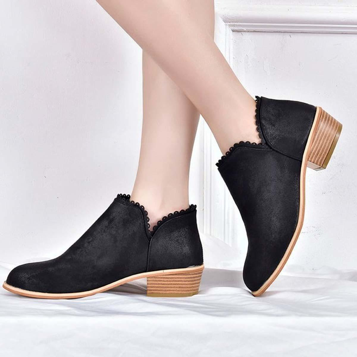 Calzado Grande Slip En Casual Tobillo Zapatos Fashion Diseñador Mujer Flock Bajo Tacón Talla Plataforma Cuadrado Vestir De HED9W2I