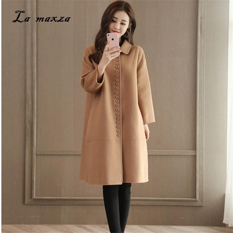 5b79a52da31 Woman Coats Winter Wool Long Coat Nice Warm Vintage Fashion Korean Camel Ladies  Coats Plus Size