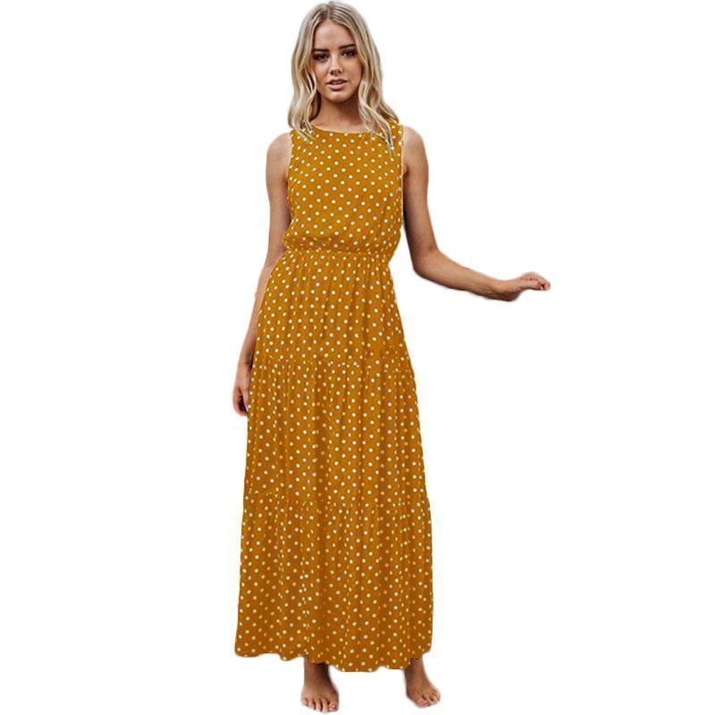 Sexy Women Maxi Long Dress Polka Dot Print Sleeveless Summer Casual  Sundress O Neck A Line Elegant Ladies Party Dress Vestidos Long And Short  Dresses Black ... 17e301a977f7