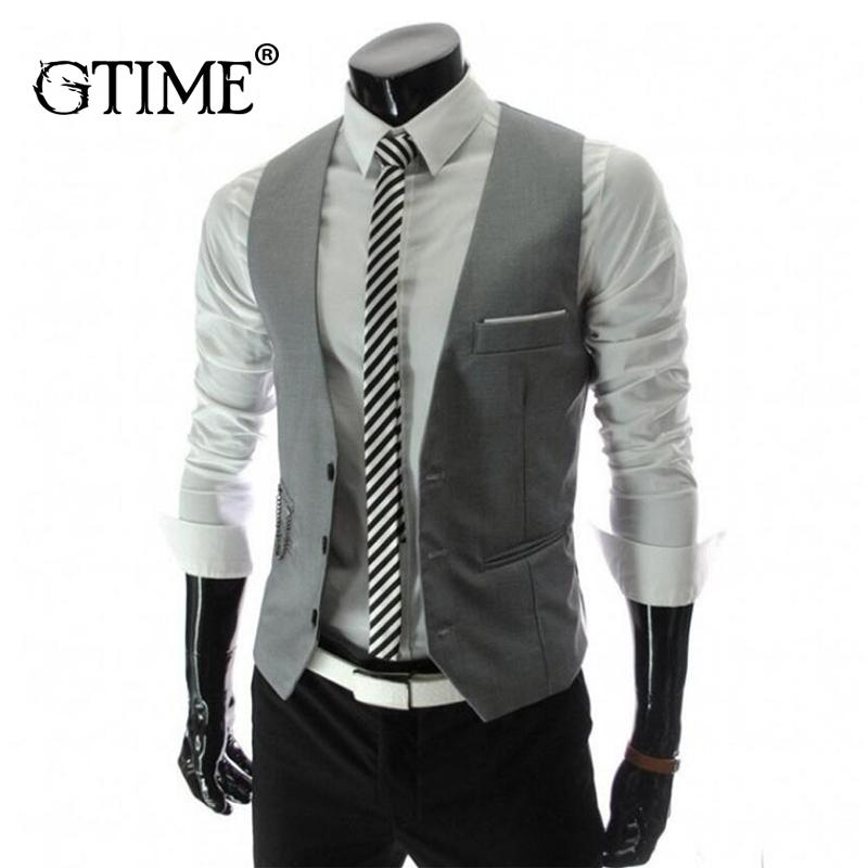 e79b5041b9b Compre GTIME Llegada Chalecos De Vestir Para Hombres Slim Fit Mens Traje  Chaleco Masculino Chaleco Homme Casual Chaqueta De Negocios Formal YJY127 A  $28.71 ...
