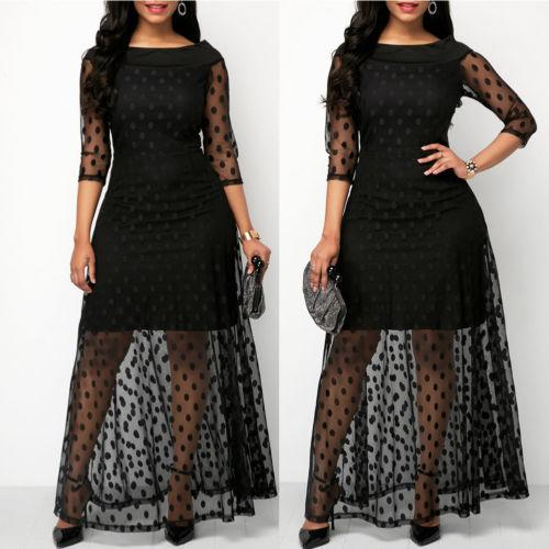 1a3b88a4f968 2019 New Women Dress Spring Summer Hot Fashion Women's Plus Size Polka Dot  Mesh Black Boho Party Dress for Ladies Costume
