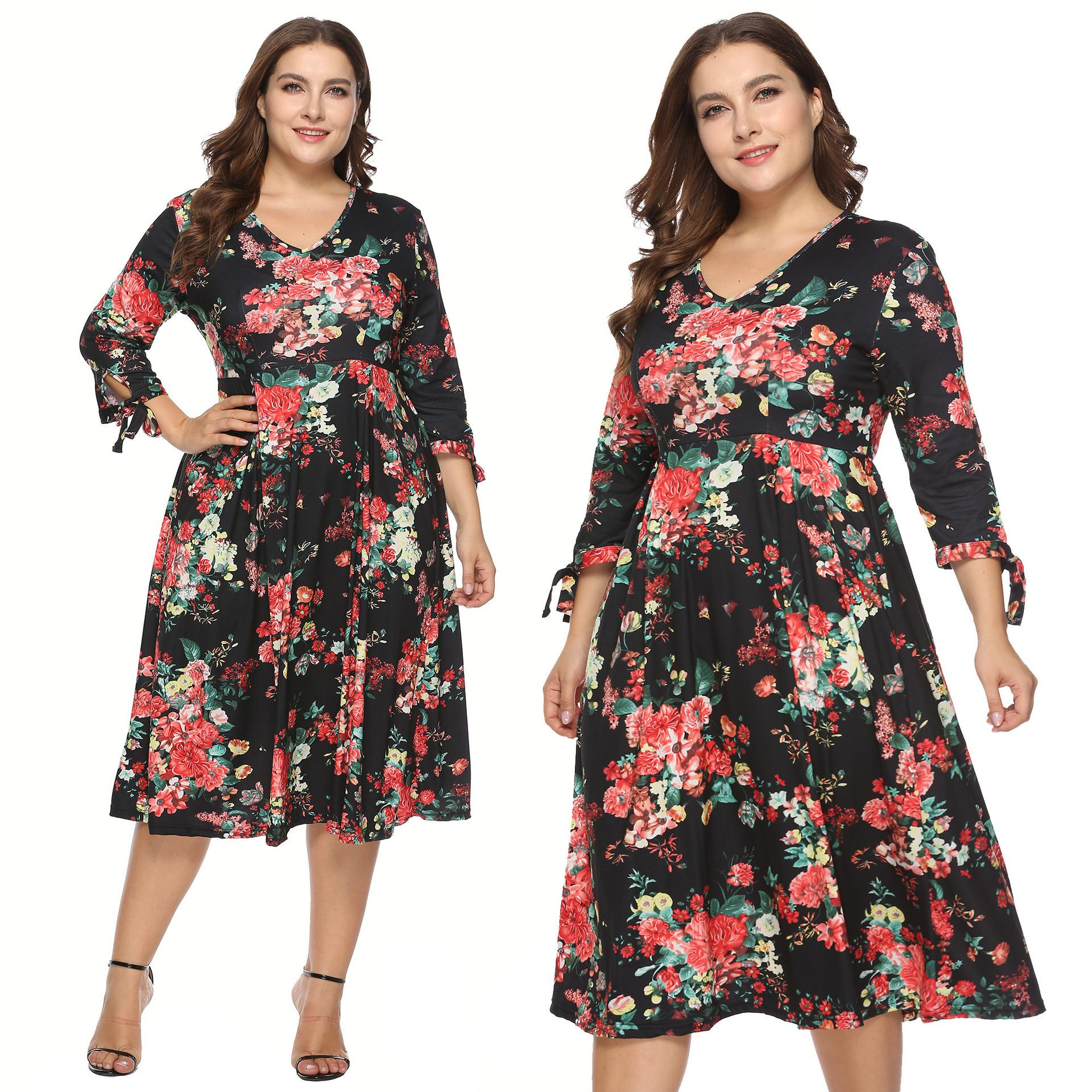 cc1b795d4b 2019 Autumn Dress Floral Print 3 4 Sleeves V Neck Knee Length A Line  Vintage Casual Street Style Winter Plus Size Dress Black Dress From  Ngexport