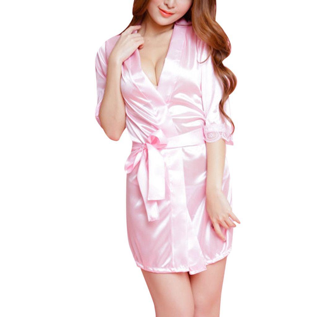 82c3f220be3 2019 Womens Sexy Robe Silk Kimono Satin Robe Dressing Lace Lingerie Bath  Pink Nightwear Sexy Lady Nightgown Vestido De Noche W85 From Carawayo