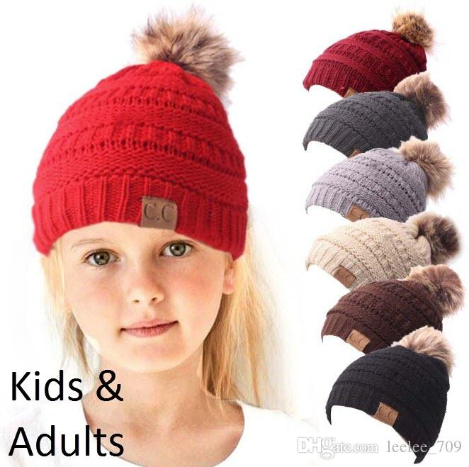 2a4d1231 2019 Kids CC Hats Kids CC Pom Beanies Thick Stretchy Knit Slouchy Beanie  Cap Hat Children Winter Beanie With Pom Lined CC Pompom Adults From  Leelee_709, ...
