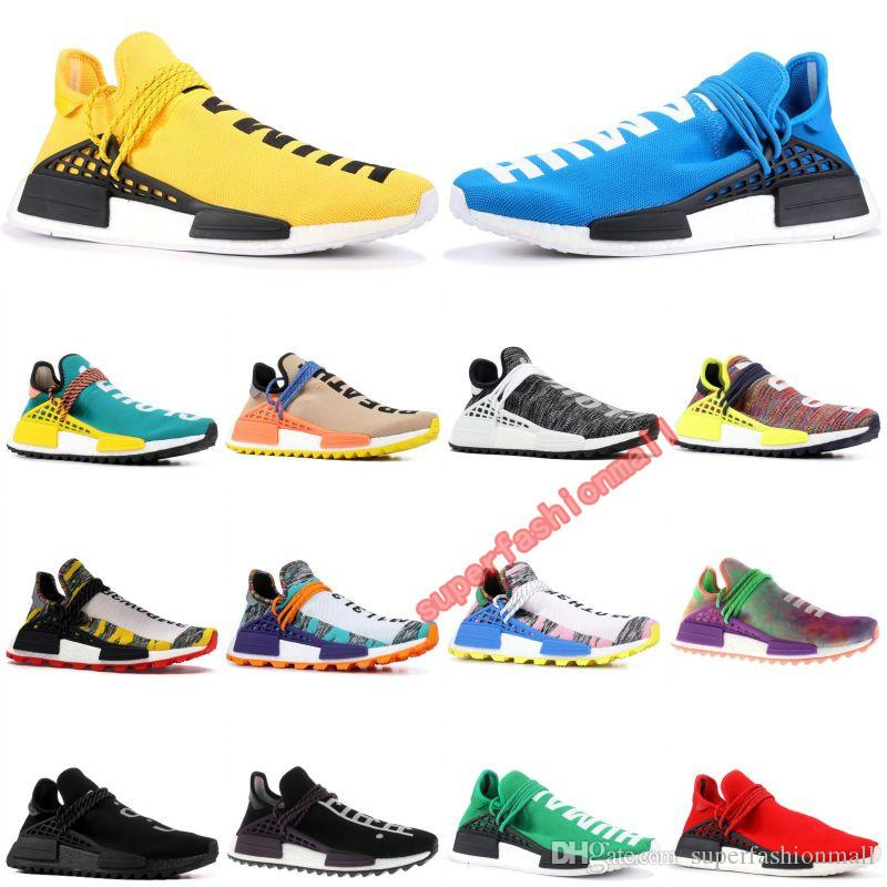 With Box Human Race Mens Designer Shoes HU Runner Pharrell Williams Yellow Core Black Running Shoes Men Women Sneakers 36-45