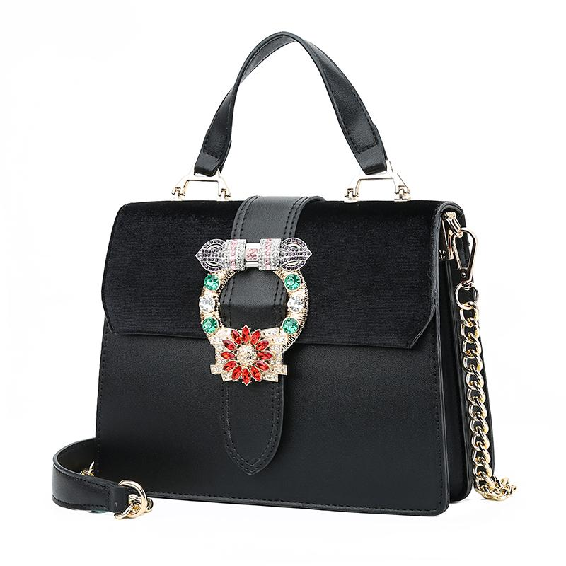 0a1acbbe70 Bags For Women 2018 New Black Velvet Leather Handbags Purses Diamond Chain  Crossbody Bag Lock Office Lady Red Evening Hand Bag Cheap Bags Cute Purses  From ...