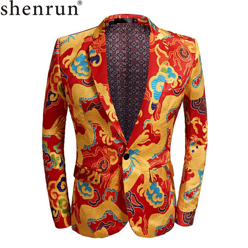SHENRUN Tide Men ChineseStyle Red Gold Dragon Design Casual Suit Jacket Plus Size Singer Costume Wedding Groom Prom Party Blazer