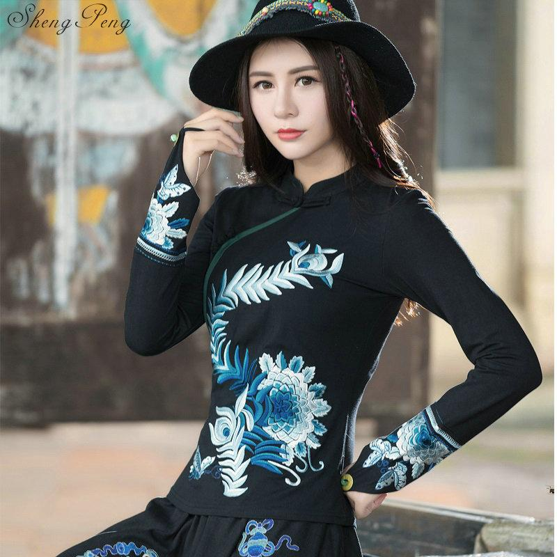 15b3c841b0c3e4 2019 Cheongsam Top Traditional Chinese Clothes For Women Long Sleeve Shirt  Cotton Vintage Clothing Top And Blouse V1453 From Harrietai, $48.25 |  DHgate.Com