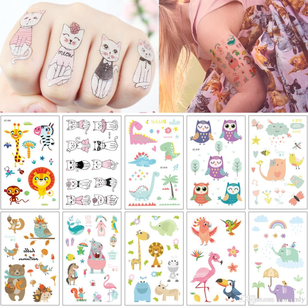 Fashion Kid Temporary Tattoo Design Cute Small Cartoon Cat Owl ...