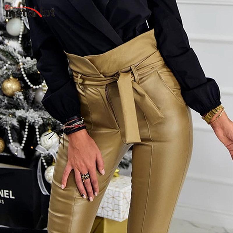 Acheter InstaHot Or Noir Ceinture Taille Haute Crayon Pantalon Femmes Faux  En Cuir PU Ceintures Long Pantalon Casual Sexy Exclusive Design Mode De   26.95 Du ... f9d9ec691cd