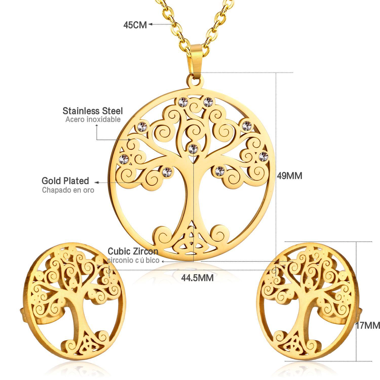 LUXUKISSKIDS vente chaude délicats ensembles de bijoux couleur or arbre de noël pendentif collier boucle d'oreille anti-allergie collier pour les femmes