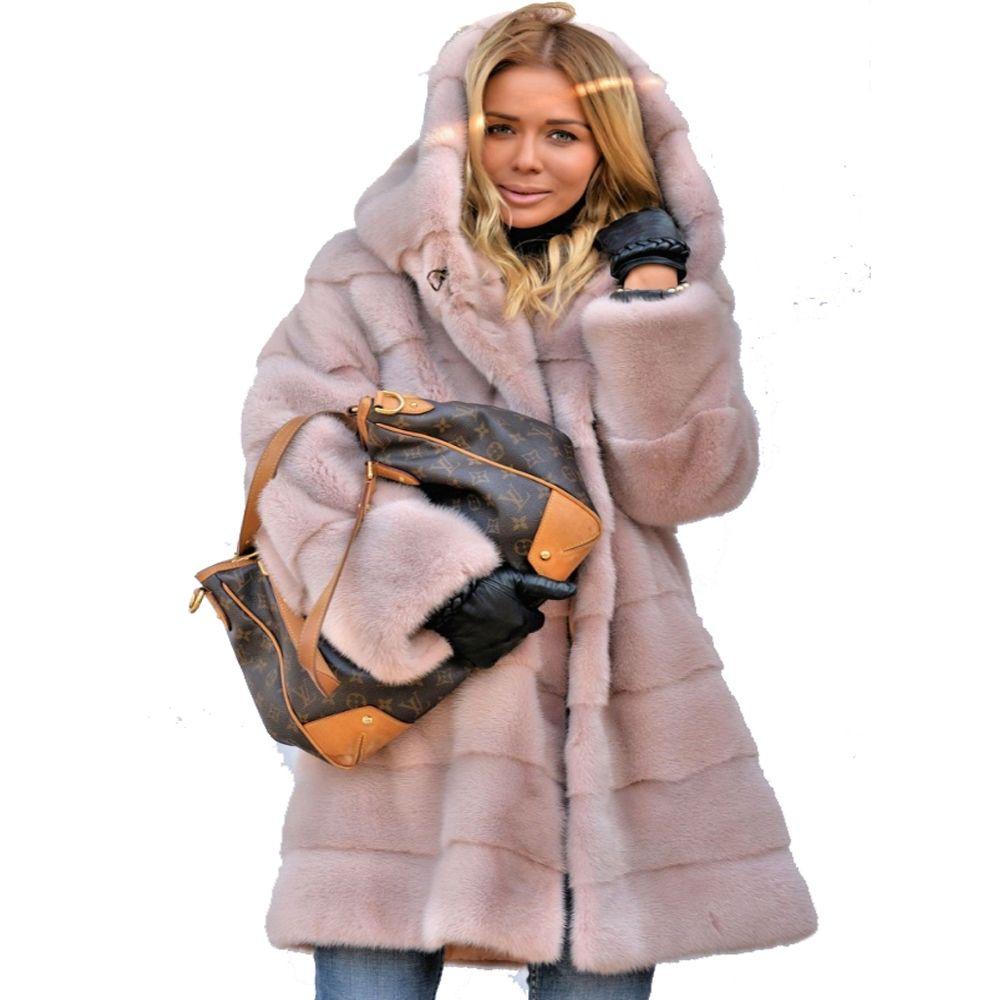 f5c66a6a1 Roiii Long Sleeve Hooded Pink Faux Fur Coat Thicken Warm Winter Jackets  Coat 2018 Fashion Streetwear Women Long Parka Outerwear