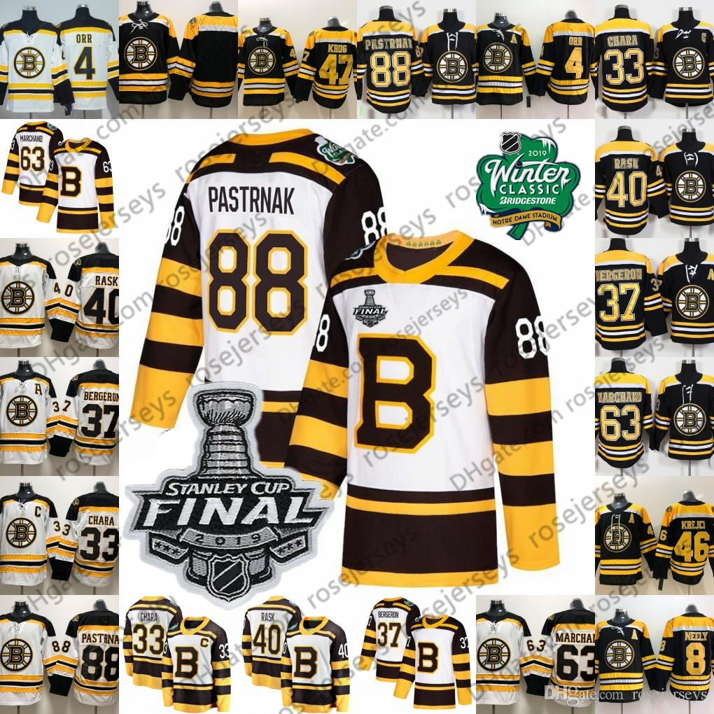new arrival 65d14 42d24 2019 Stanley Cup Boston Bruins White Black Jersey #88 David Pastrnak 37  Bergeron 63 Brad Marchand 33 Zdeno Chara 40 Tuukka Rask Patrice