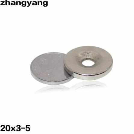 ZHANGYANG 10Pieces/Lot 20 x 3 mm With Hole 5mm Ring Rare Earth Strong Countersunk Neodymium Magnets