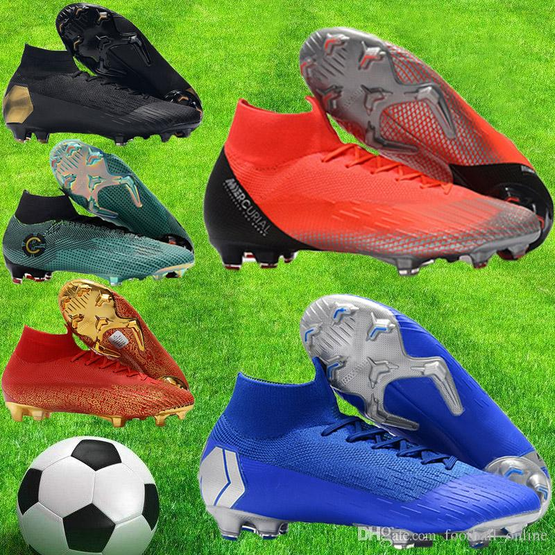 07ae15a95 New Cheap Mens Mercurial Superfly VI 360 Elite Ronaldo FG CR7 Soccer Shoes  Chaussures Crampons De Football Fútbol Boots Men Soccer Cleats Blue Shoes  Clogs ...