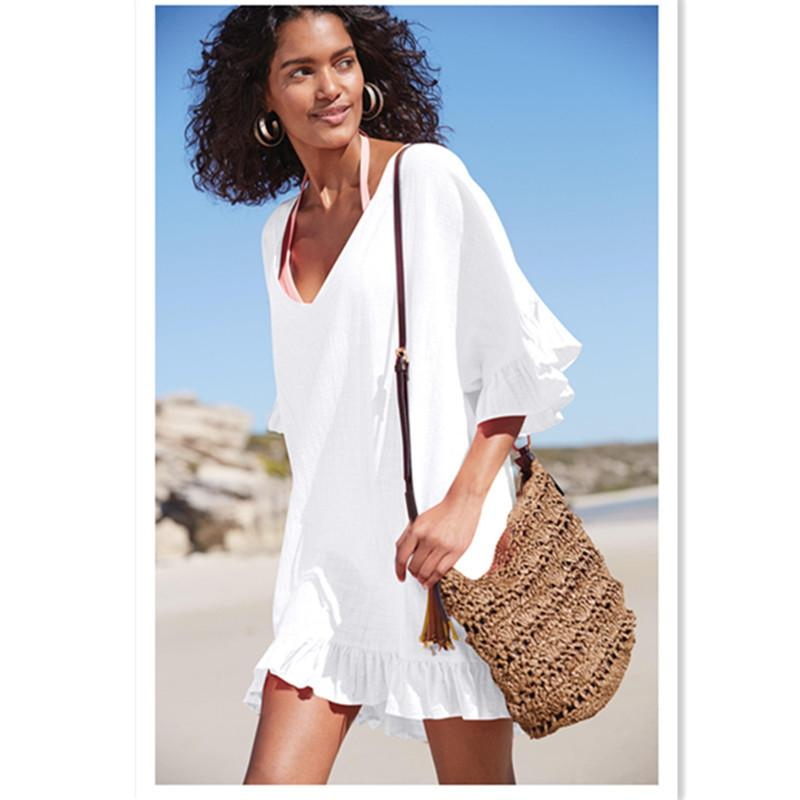 6ca57b2692a28 Bamboo Cotton V-neck Beach Cover Up Lady's Tunics For Beach Summer Swimsuit  Cover Up Women Dress