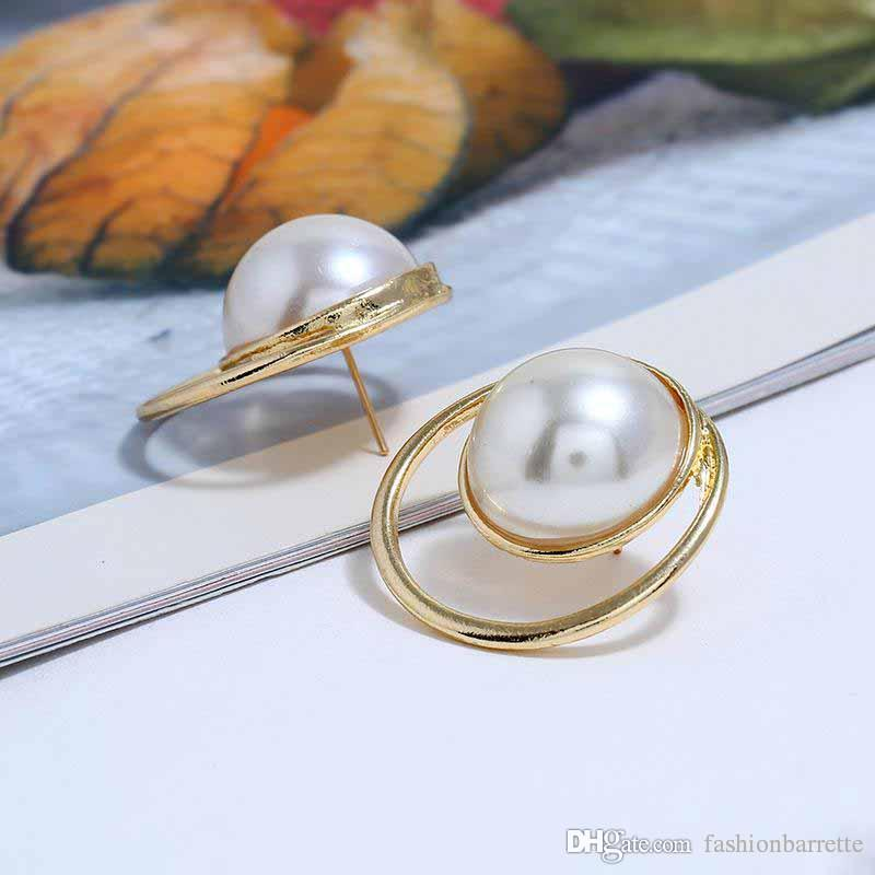 d992b9339 2019 Geometric Double Circles Alloy Stud Earrings For Women Simple Imitation  Pearl Earrings Fashion Gold Plated Jewelry Accessories Wholesale From ...