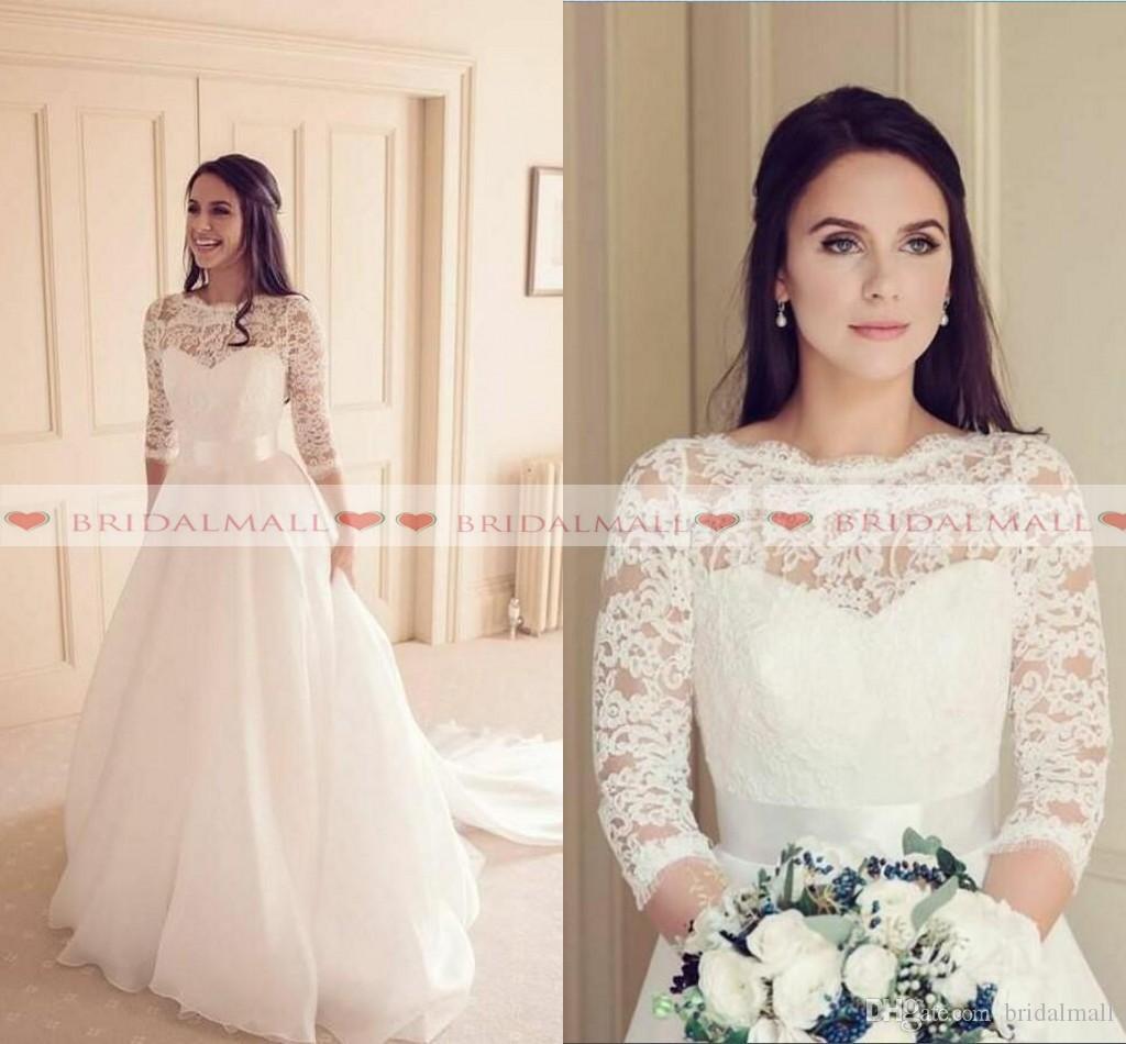 a52ade43a1d Simple Illusion Neck 3 4 Long Sleeves A Line Boho Wedding Dresses 2019  Elegant Sweep Train Beach Bridal Gowns Cheap Custom Vestidos De Novia Bridal  Gowns ...