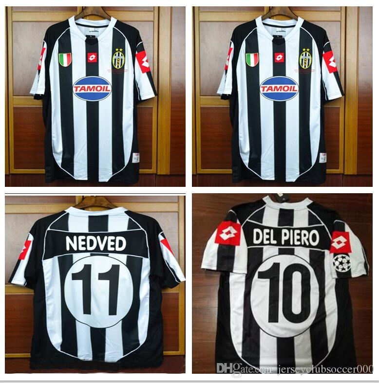 2adc33dc9bc 2019 02 03 Italia Del Piero Nedved Trezeguet Davids Retro Vintage Jersey  2002 2003 Champion Final Retro Classical Football Shirts Camiseta From ...