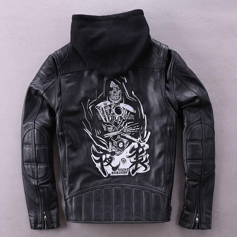 ecb8070365c3 2019 Winter Fashion Genuine Leather Jacket Men Black Embroidery Hooded  Biker Motorcycle Jacket Outerwear Cowskin Real Leather Coat From  Chenyiaicwp
