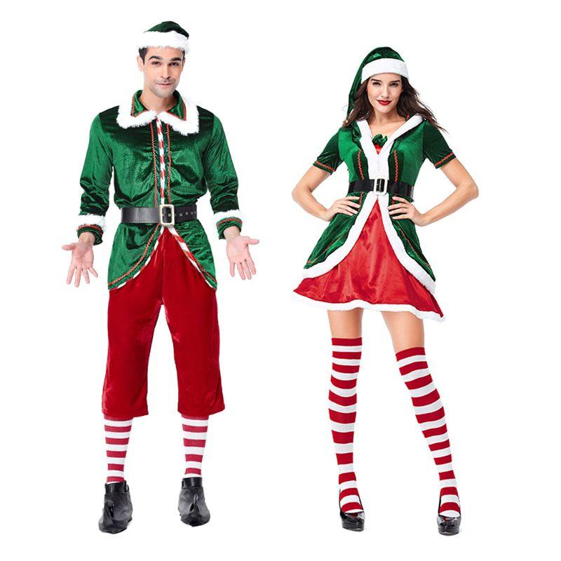 Women Men Sexy Christmas Green Elf Santa Claus Cosplay Costume Adults Couples Garment Carnival Party Supplies
