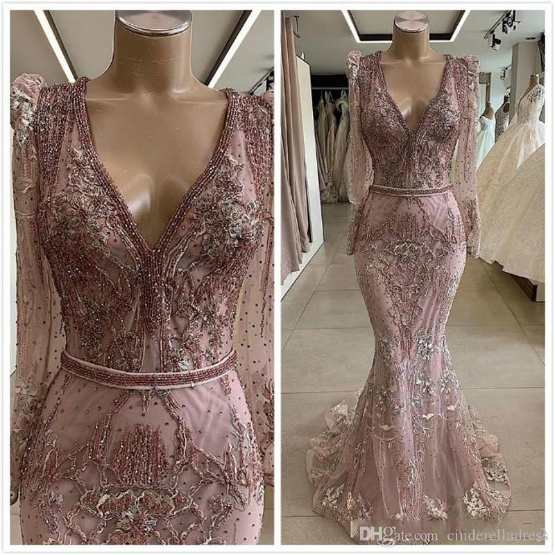 2020 Modest Lace Beaded African Dubai Masquerade Prom Dresses Long Sleeves Deep V-neck Mermaid Evening Dress Vintage Sexy Formal Party Gowns
