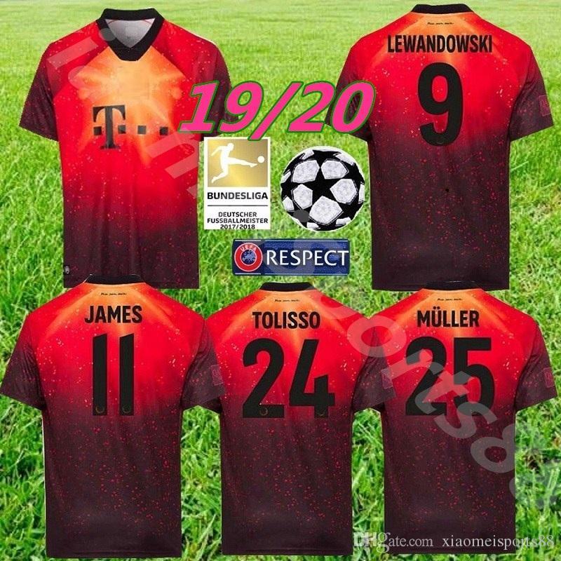 brand new 07f60 942f8 2019 2020 Limited edition Bayern Munich JAMES RODRIGUEZ soccer jersey 19 20  LEWANDOWSKI MULLER KIMMICH jersey men Football kit shirt
