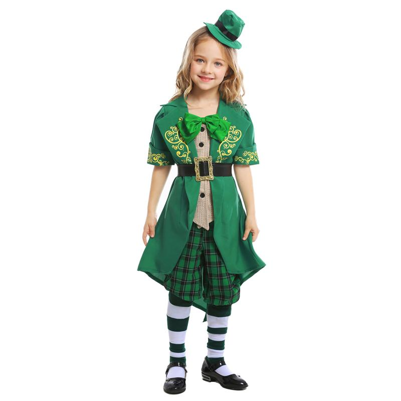 40148c80ab51 H&ZY Kids Girls Irish Lucky Fairy Leprechaun Costume Child Green St.  Patrick's Day Outfit Fancy Clothes Hat Top Pants Suit