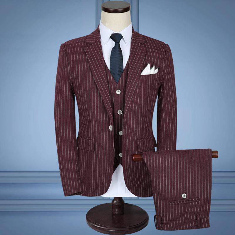 2018 Red Stripe Men Suits Wedding Slim Fit Suits Business Groom Formal Suit Male Tuxedo Blazer Suits Men Jacket+Pants+Vest 5XL