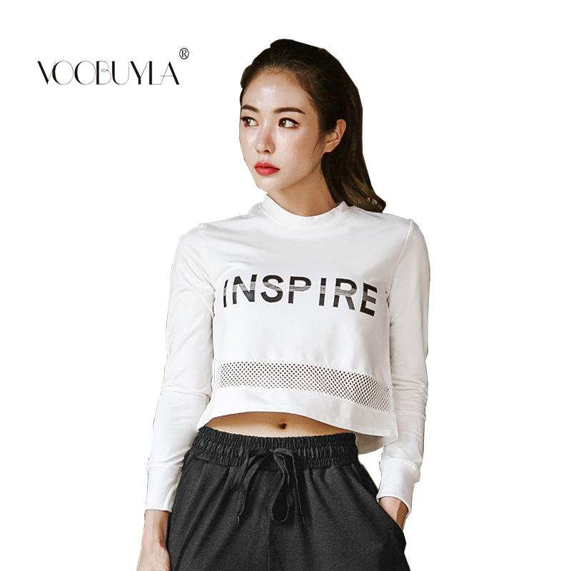 2018 Voobuyla Women Gym Yoga Crop Tops Running Shirts Long Sleeve