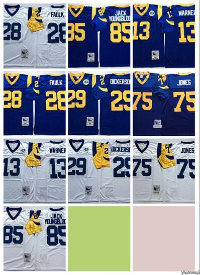 los angeles a681a 97006 2020 Throwback St. Louis Rams 28 Marshall Faulk Jersey Men Football Vintage  13 Kurt Warner 85 Jack Youngblood 29 Eric Dickerson 75 Jones